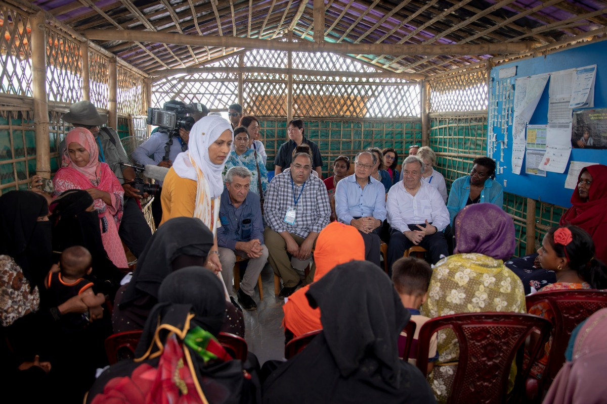 UN Secretary-General Guterres meeting Rohingya refugees in Cox Basar, Bangladesh, July 2018. © UN Photo/KM Asad